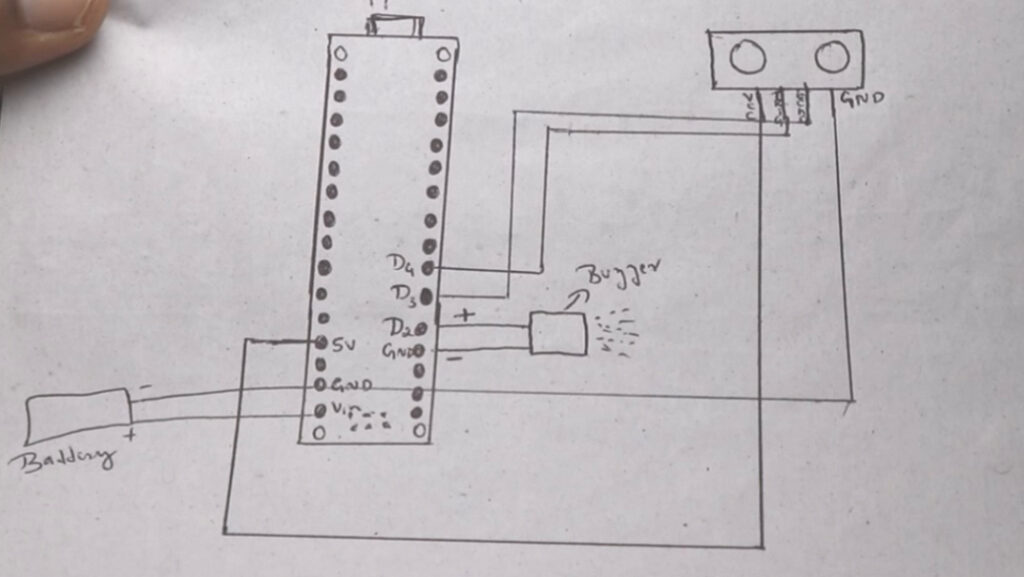 social distance alarm circuit diagram