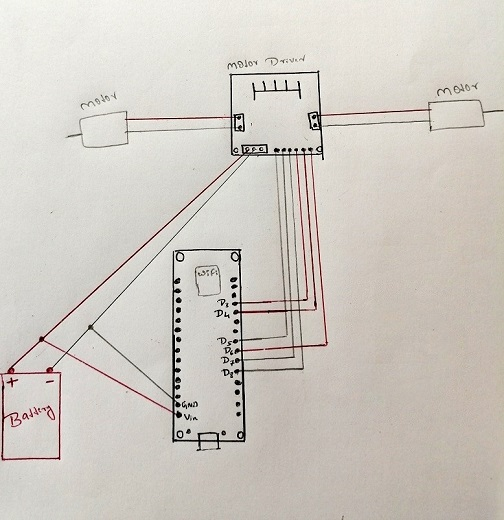 Smartphone Controlled Floor Cleaning Machine circuit diagram