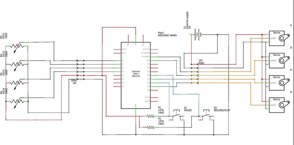 circuit diagram for Arduino robot arm